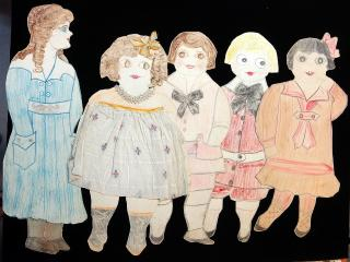 "5  Naive 20""  Folk Art Paper Dolls - Buster Brown, Robert, Bertha, Nan & Lenora . .Nebraska.1910s"