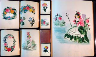 Album of 17 Original Watercolors Done in the Same Hand. The subject: Things Floral, The Alphabet of Angela - Language of Flowers c1870s-80s.  1870s