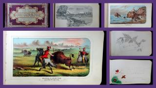 Autograph Album, with 12 prints of American Scenery, c1882. ..