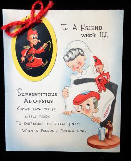 Get Well Card featuring removable Superstitious Al-o-ysius. ..1950s