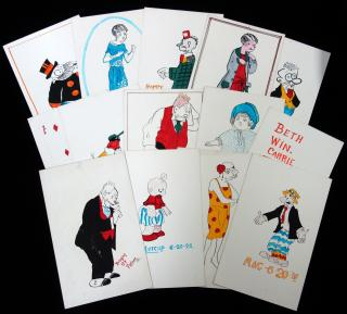 Twelve (12) Ink and Gauche Illustrations of Cartoon and Comic Characters of 1926.. ..