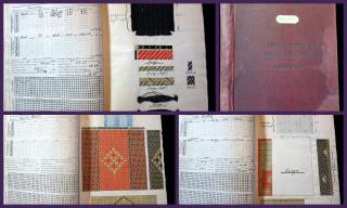 Anayltic Workbook including Textile Specimens, Philadelphia Textile School, Pennsylvania Museum & School of Industrial Arts by Adolphe Rusch, Jr. Pioneer in Lightweight Aviation  Fabrics.