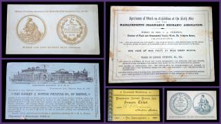 Collection of 5 Items Advertising Massachusetts Charitable Mechanic Association. .Boston.1871 - 1887