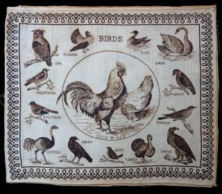 Children's Hankerchief - Birds . ..c1870s