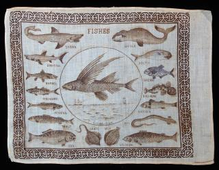 Children's Hankerchief - Fishes. ..c1870s