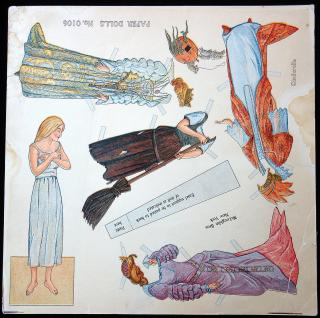 Uncut Cinderella Paper Doll Sheet No. 0106. McLoughlin.New York.1911-1913