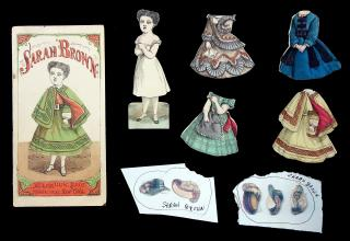 Cut McLoughlin Sarah Brown, 4 Costumes with Envelope. McLoughlin Bros..New York.1850s