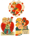 3 Valentines Depict Popular Culture of the 1930s--Roller Skating, Scottie, Telephones & a Crooners
