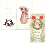 "Art Nouveau Influenced Valentine Gift Book, ""Heartiest Good Wishes."""