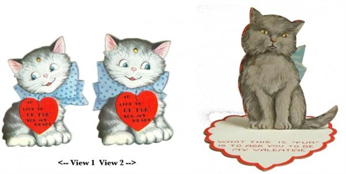 Image of: Cute Gayo Maxx Two Novelty Cat Valentines Each With fur Pun In Verses