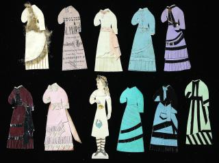 "5"" Handmade Paper Doll with 10 Costumes c1870s. .."