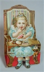 Au Bon Marche 3D Movable  Die-cut  Toddler Paper Doll in High Chair with Toy Wheeled Lamb