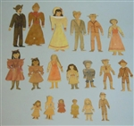 A Large Family of 19 Handmade Watercolor Paper Dolls c1890s
