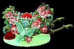 Open out Die cut Flower Cart w Love Birds Roses & Red Honeycombs