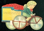 Cupid Riding Bike with Cart of Hearts