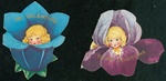 Two Die-cut Flower Power Valentine Girls