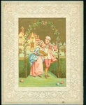 Marcus Ward -Lace Valentine Card with Dandy and His Girl Smelling a Rose under the Arbor