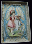 Boxed Valentine - Victorian Scrap of Young Girl Talking with Parrot