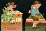 Set of Mechanical Valentines - Girl Polishing her Nails, Boy Brushing his hair. Is this a  Valentine Date?