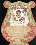Rivet and Parchment Valentine - Flower Pixie  Surrounded by Purple Pansies