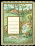 Mary in Blue Dress Touching Flowers on a Path, Sheep and Lamps Playing in the Field