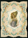 "Colorful Edwardian Valentine Card - Side View of Woman, Verse ""To One I Love"""