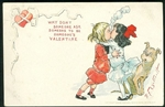 1903 Comic Post Card - Girl Giving Boy a Big Kiss with Billowing Smoke Outcault