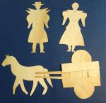 Naive Pennsylvania Paper Cuts - 2 Woman, a Horse and Cart with Rolling Wheels.