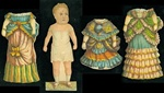 Baby Blue McLoughlin Paper Doll with 3 Costumes, Dolly Varden Dolls Series c1876